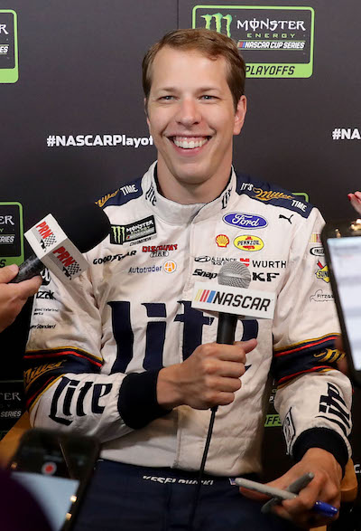 Brad Keselowski during the NASCAR playoffs media tour on Sept. 13, 2017 (photo courtesy of Getty Images for NASCAR).