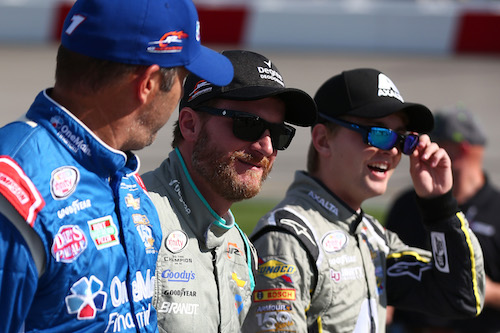 Elliott Sadler (left) and William Byron (right) with car owner Dale Earnhardt Jr. (photo courtesy of Getty Images for NASCAR)