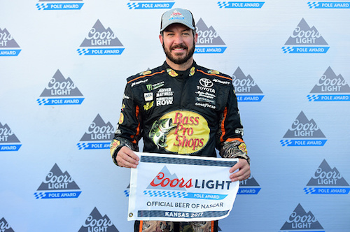 On Oct. 20, 2017, Martin Truex Jr. wins the pole for the Hollywood Casino 400 at Kansas Speedway, scheduled for Oct. 22, 2017 (photo courtesy of Getty Images for NASCAR).
