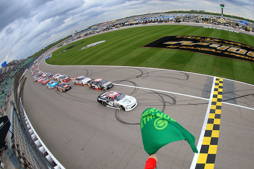 The NASCAR Xfinity Series takes the green flag for the Kansas Lottery 300 at Kansas Speedway on Oct. 21, 2017 (photo courtesy of Getty Images for NASCAR)