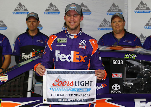 Denny Hamlin won the pole for the Bank of America 500 at Charlotte Motor Speedway on Sept. 6, 2017 (photo courtesy of Getty Images for NASCAR).
