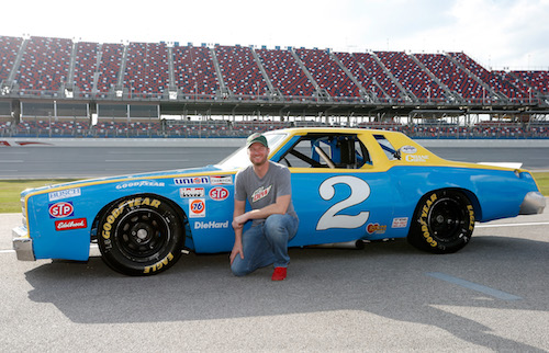 Dale Earnhardt Jr. with the No. 2 Rod Osterlund-owned 1979 Chevrolet with which Dale Earnhardt won 1979 Rookie of the Year and the 1980 championship in the NASCAR Winston Cup Series on Oct. 13, 2017 (photo courtesy of Getty Images for NASCAR).