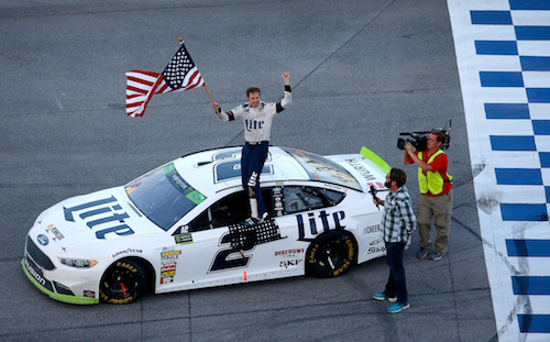 Brad Keselowski celebrates his win of the Alabama 500 at Talladega Superspeedway on Oct. 15, 2017 (photo courtesy of Getty Images for NASCAR).