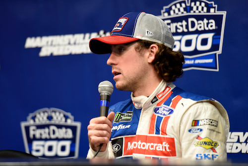 Ryan Blaney during a NASCAR organizational test at Martinsville Speedway on Oct. 10, 2017 (photo courtesy of Getty Images for NASCAR).