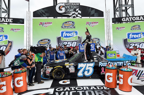 Parker Kligerman celebrates in victory lane at Talladega Superspeedway after winning the Fred's 240 on Oct. 14, 2017 (photo courtesy of Getty Images for NASCAR).