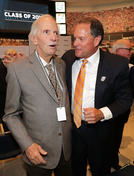 Robert Yates (left) with NASCAR Hall of Fame Executive Director Winston Kelley on NASCAR Hall of Fame Voting Day on May 24, 2017 (photo courtesy of Getty Images for NASCAR).
