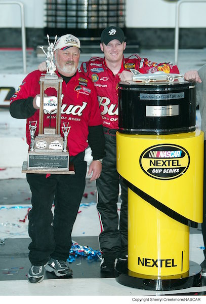 Tony Eury (left) with Dale Earnhardt Jr. after they won the 2004 Daytona 500 (photo courtesy of Getty Images for NASCAR).