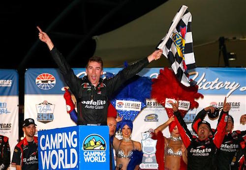 Ben Rhodes celebrates in victory lane at Las Vegas Motor Speedway after winning the Las Vegas 350 on Sept. 30, 2017 (photo courtesy of Getty Images for NASCAR).