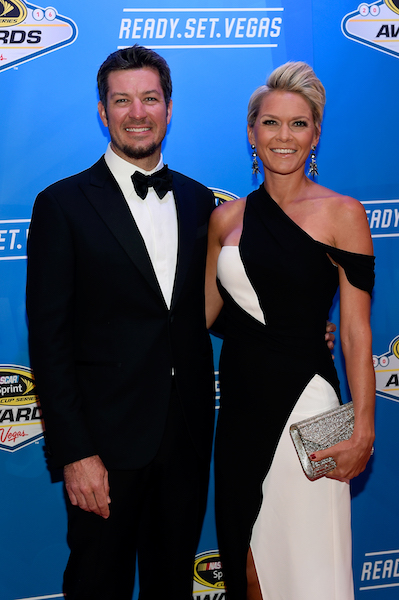 Martin Truex Jr. and Sherry Pollex prior to the 2016 MASCAR Sprint Cup Series Awards at Wynn Las Vegas on Dec. 2, 2016 (photo courtesy of Getty Images for NASCAR)