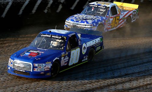 Jeffrey Abbey (No. 45) races Justin Shipley (No. 80) at Eldora Speedway in the Eldora Dirt Derby on July 19, 2017 (photo courtesy of Getty Images for NASCAR).