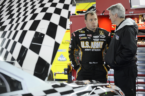 Matt Borland (right) with Ryan Newman at a test at Charlotte Motor Speedway in 2012 (photo courtesy of Getty Images for NASCAR)