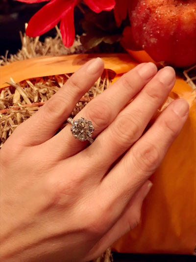 The left hand of Pennelope Jimenez, donning the engagement ring she was given by Tony Stewart (photo courtesy of Tony Stewart via Twitter)