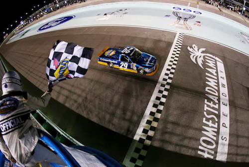 Chase Briscoe takes the checkered flag to win the Ford EcoBoost 200 at Homestead-Miami Speedway on Nov. 17, 2017 (photo courtesy of Getty Images for NASCAR).