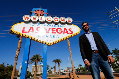 Martin Truex Jr. in front of the famous Las Vegas sign on Nov. 26, 2017 (photo courtesy of Getty Images for NASCAR)