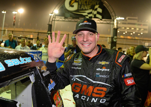 Johnny Sauter celebrates his fourth win of the season after the Lucas Oil 150 at Phoenix International Raceway on Nov. 10, 2017 (photo courtesy of Getty Images for NASCAR).