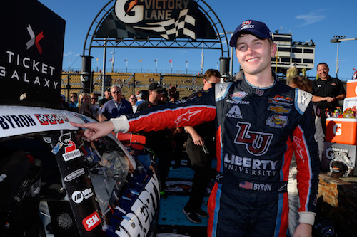William Byron celebrates his win of the Ticket Galaxy 200 at Phoenix International Raceway on Nov. 11, 2017 (photo courtesy of Getty Images for NASCAR).