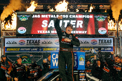 Johnny Sauter celebrates in victory lane at Texas Motor Speedway after winning the Jag Metals 350 on Nov. 3, 2017 (photo courtesy of Getty Images for NASCAR).