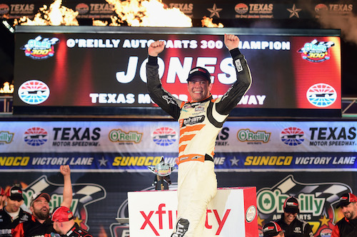 Erik Jones celebrates in victory lane at Texas Motor Speedway after winning the O'Reilly Auto Parts 300 on Nov. 4, 2017 (photo courtesy of Getty Images for NASCAR).