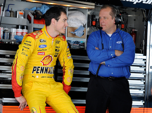 Crew chief Todd Gordon (right) with driver Joey Logano (photo courtesy of Getty Images for NASCAR)