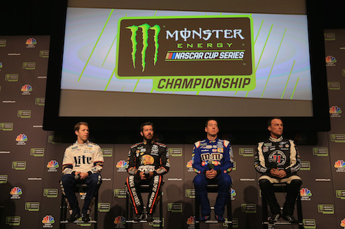 Monster Energy NASCAR Cup Series 2017 Championship Four Drivers (L to R) Brad Keselowski, Martin Truex Jr., Kyle Busch and Kevin Harvick during Championship Media Day in Miami on Nov. 16, 2017 (photo courtesy of Getty Images for NASCAR).