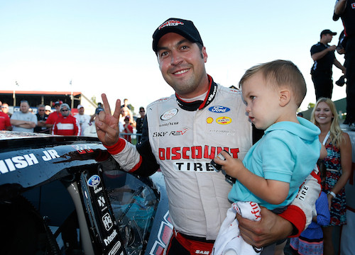 Sam Hornish Jr. after winning at Mid-Ohio Sports Car course on Aug. 12, 2017 (photo courtesy of Getty Images for NASCAR).