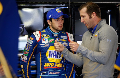 Hendrick Motorsports crew chief Alan Gustafson (right) with driver Chase Elliott (photo corutesy of Getty Images for NASCAR)