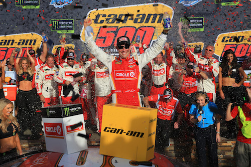 Matt Kenseth celebrates in victory lane at Phoenix International Raceway after winning the Can-Am 500 on Nov. 12, 2017 (photo courtesy of Getty Images for NASCAR).