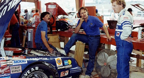 Barry Dodson (left) with driver Rusty Wallace (right) during their time with Blue Max Racing (photo courtesy of Racing One).