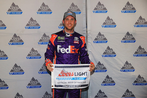 Denny Hamlin claims a Coors Light pole for the Ford EcoBoost 400 at Homestead-Miami Speedway on Nov. 17, 2017 (photo courtesy of Getty Images for NASCAR).