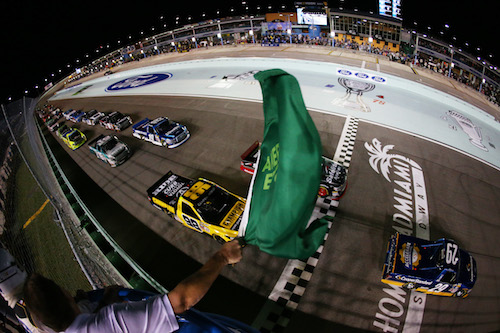 The NASCAR Camping World Truck Series takes the green flag for the Ford EcoBoost 200 at Homestead-Miami Speedway on Nov. 17, 2017 (photo courtesy of Getty Images for NASCAR).