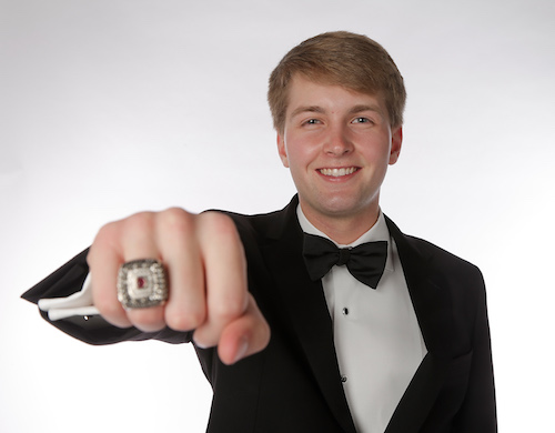 NASCAR Xfinity Series champion William Byron shows off his champion's ring in Charlotte, N.C., on Dec. 10, 2017 (photo courtesy of Getty Images for NASCAR).
