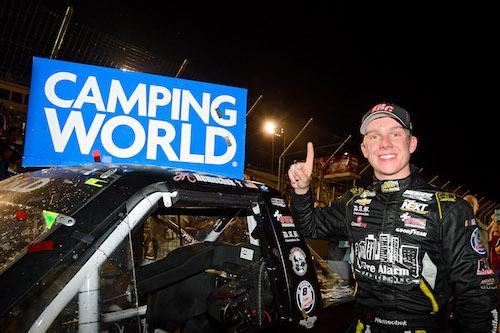 John Hunter Nemechek celebrates a win at Gateway Motorsports Park on June 18, 2017 (photo courtesy of Getty Images for NASCAR).