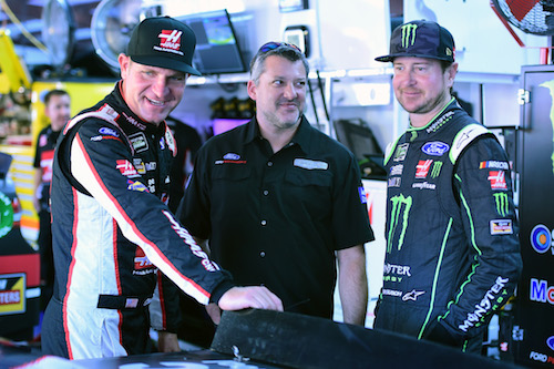 Kurt Busch (right) with Stewart-Haas Racing teammate Clint Bowyer and car co-owner Tony Stewart (photo courtesy of Getty Images for NASCAR).