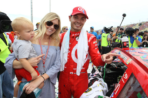 NASCAR driver Kyle Larson (right) with fiance Katelyn Sweet and son Owen after Larson's win at Michigan International Speedway in Brooklyn in 2016 (photo courtesy of Getty Images for NASCAR).