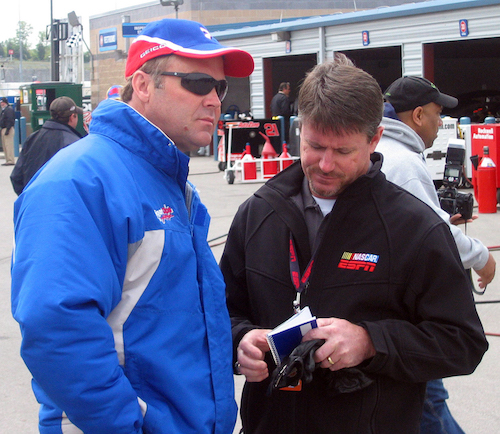 Andy Petree (right) with former NASCAR driver Mike Wallace in the garage at Nashville Superspeedway in 2007 (photo courtesy of Getty Images for NASCAR).
