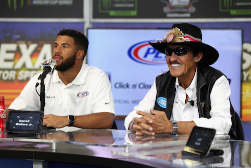 Darrell Wallace Jr. (left) and Richard Petty (photo courtesy of Getty Images for NASCAR)