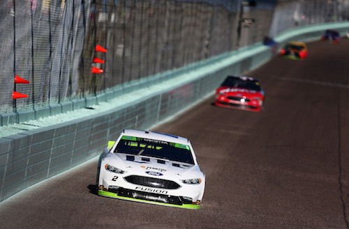 No. 2 Team Penske Ford of Brad Keselowski during the Ford EcoBoost 400 at Homestead-Miami Speedway on Nov. 19, 2017 (photo courtesy of Getty Images for NASCAR)