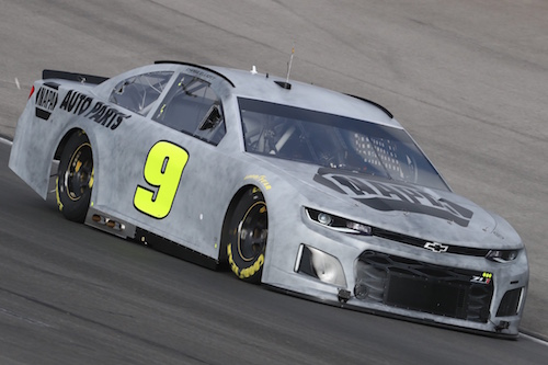Chase Elliott's No. 9 Hendrick Motorsports Chevrolet on track during a Goodyear tire test at Texas Motor Speedway on Jan. 9, 2018 (photo courtesy of Chevrolet)