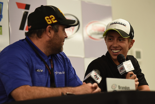 Brandon Jones (right) with Brendan Gaughan during a press conference at Iowa Speedway in 2016 (photo courtesy of Getty Images for NASCAR).