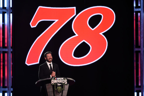 Martin Truex Jr. speaks during the Monster Energy NASCAR Cup Series Awards program at Wynn Las Vegas on Nov. 30 2017 (photo courtesy of Getty Images for NASCAR).