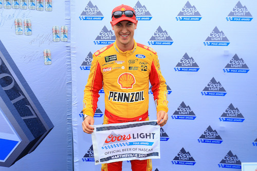 Joey Logano claims a pole at Martinsville Speedway on Oct. 29, 2017, during a weekend featuring same-day qualifying and racing (photo courtesy of Getty Images for NASCAR).