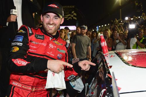 Austin Dillon celebrates winning the 2018 Daytona 500 at Daytona International Speedway on Feb. 18, 2018 (photo courtesy of Getty Images for NASCAR).