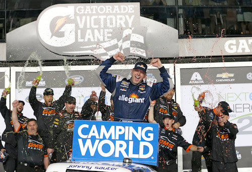Johnny Sauter celebrates in victory lane at Daytona International Speedway after winning the NextEra Energy Resources 250 on Feb. 16, 2018 (photo courtesy of Getty Images for NASCAR)