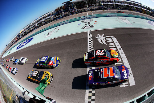 Denny Hamlin (11), Martin Truex Jr. (78), Matt Kenseth (20) and Kyle Busch (18) start the Ford EcoBoost 400 in the first two rows at Homestead-Miami Speedway on Nov. 19, 2017 (photo courtesy of Getty Images for NASCAR).