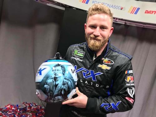 Jeffrey Earnhardt shows his Daytona 500 helment, honoring his grandfather, Dale Earnhardt (photo courtesy of Daytona International Speedway).