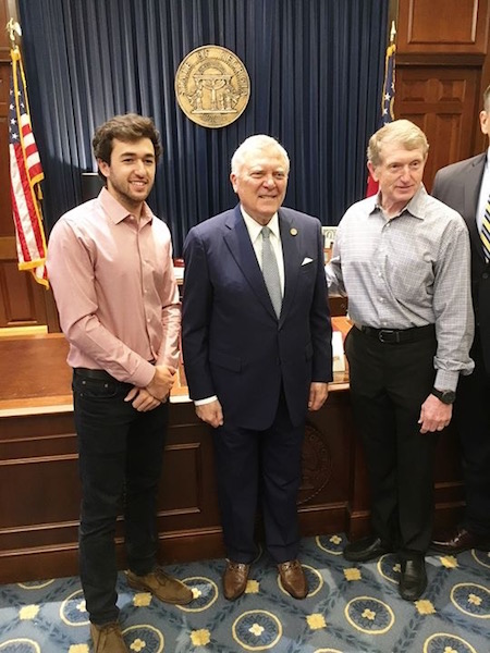 L to R: Chase Elliott, Georgia Governor Nathan Deal and Bill Elliott at the Georgia State Capitol in Atlanta on Feb. 21, 2018 (photo courtesy of Atlanta Motor Speedway via Facebook).