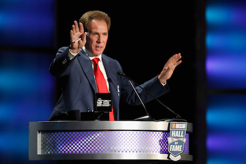 Darrell Waltrip is inducted into the NASCAR Hall of Fame in Charlotte, N.C., in 2012 (photo courtesy of Getty Images for NASCAR).