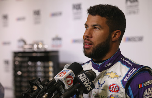 Darrell Wallace Jr. on Daytona 500 Media Day at Daytona International Speedway on Feb. 14, 2018 (photo courtesy of Getty Images for NASCAR).