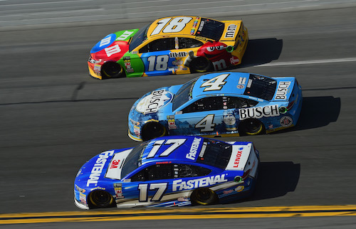 Ricky Stenhouse Jr. (17), Kevin Harvick (4) and Kyle Busch (18) in the Advance Auto Parts Clash at Daytona International Speedway on Feb. 11, 2018 (photo courtesy of Getty Images for NASCAR).