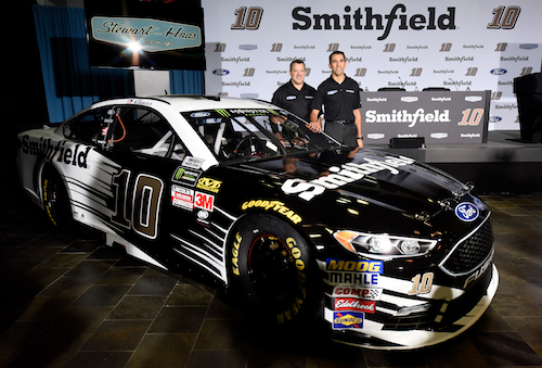 Aric Almirola (right) with car owner Tony Stewart (photo courtesy of Getty Images for NASCAR)
